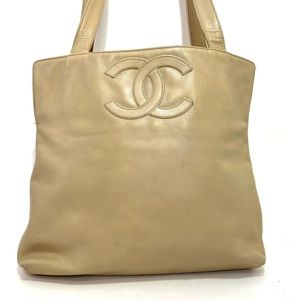 Authentic Vintage Chanel Beige Lambskin Tote